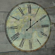 20ec412fe38 Antique Style Atlas Wall Clock. £45. Antique World Map
