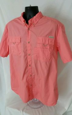 Mens Columbia Fishing Shirt XL Hiking Camping Outdoor Summer Coral EUC #Columbia #ButtonFront