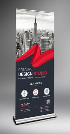 This elegant and well organized corporate roll-up banner template is in PSD format. Tradeshow Banner Design, Signage Design, Branding Design, Rollup Banner Design, Standing Banner Design, Magazine Ideas, Banner Design Inspiration, Roll Up Design, Graphic Design Brochure