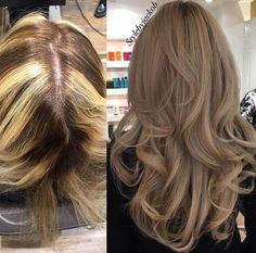 Love the blonde colour afterwards Frisuren Brown Hair Balayage, Ash Blonde Hair, Hair Color Balayage, Blonde Color, Hair Highlights, Light Hair, Hair Transformation, Mi Long, Hair Looks