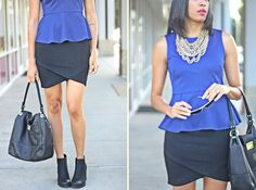 quilted skirt with editor hem, peplum top, @baublebar Courtney bib, #Sam&Libby booties, date night outfit inspiration
