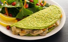 This omelet is made from white beans and oats and is jam-packed with nourishing ingredients like fresh spinach — and the creamy mushroom filling couldn't be any more tasty! Nutritious Breakfast, Vegetarian Breakfast, Breakfast Recipes, Breakfast Ideas, Creamy Mushrooms, Stuffed Mushrooms, Whole Food Recipes, Vegan Recipes, Vegan Food
