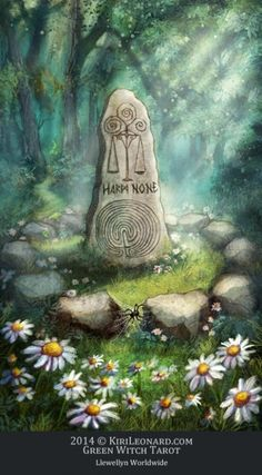 VIII - Justice (as a standing stone) from the Green Witch Tarot. Artist unknown