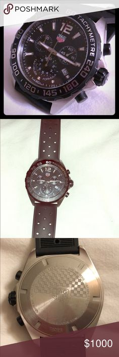 Tag Heuer Formula 1 Tachymetre 43mm Stainless steel  Black titanium tachymetre fixed scale bezel  Sapphire crystal (scratch resistant) Quartz chronograph  Rubber band. Barely used (less than 6 months) Box and papers included Tag Heuer Accessories Watches