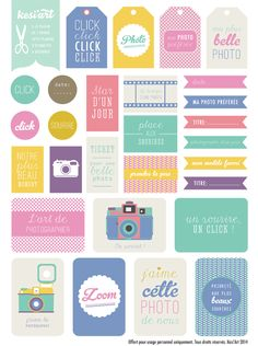 Free Printable Photography Themed Tags, Flags and Labels