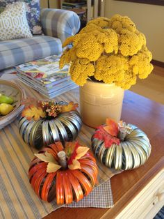 Here's my pumpkin craft made with canning jar rings