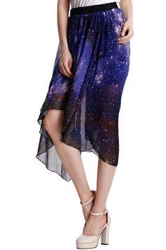 ROMWE   Starry Night Asymmetric Skirt, The Latest Street Fashion #ROMWE