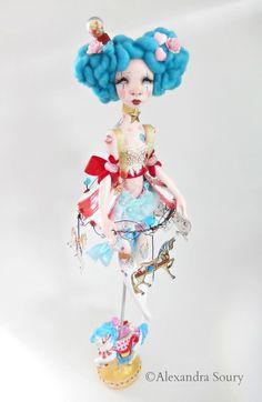 Ninon carousel art doll Funfair theme Alexandra Soury art 2017