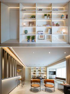 White Shelving Unit, White Shelves, Bookshelves, Bookcase, Hidden Lighting, Indirect Lighting, Design Firms, Glow, Flooring