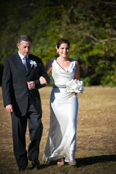 Marnie in our 'Thalia' wedding gown. Liquid silks satin, cowl neck and back style.