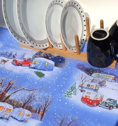 Christmas Campers Dish Mat Winter RV Gifts by MakingSomethingHappy