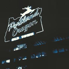 The #portlandoregon #stag. Black and white at night. #downtownportland #downtownpdx