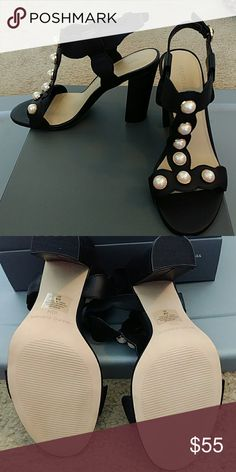 Marc Fisher Black Pear embellished Sandals Gold accented pearls heeled sandals..never worn Marc Fisher Shoes Sandals