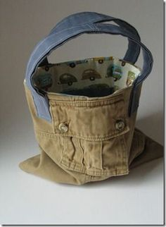 upcycled cargo pants tote bag// have the supplies to make many of these!