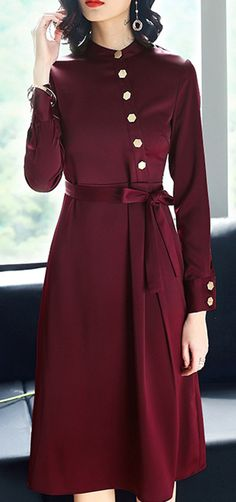 Vintage Pure Color Stitching Stand Collar Button Skater Dress