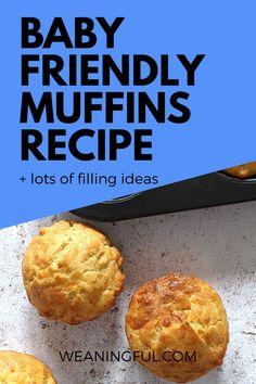 This kid friendly muffins recipe is great from 6 months as it is sugar free. You can fill them with fruits, veggies, meat or cheese and can even go in lunchboxes as they don't need heating up. Healthy Baby Food, Healthy Muffin Recipes, Healthy Toddler Meals, Toddler Food, Healthy Kids, Baby Food Recipes, Healthy Snacks, Baby Led Weaning First Foods, Baby First Foods