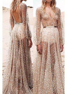 Long Sleeve Semi Sheer Sequin Decorated Maxi Dress