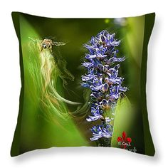 """The Bee and The Flower Throw Pillow 14"""" x 14"""""""