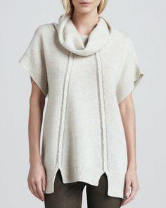 Short-Sleeve Cowl-Neck Sweater