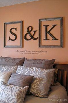 Monogrammed Framed Letters Above Bed