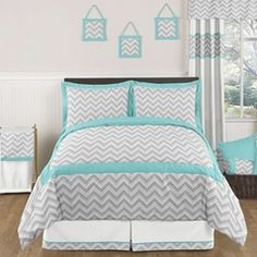Gray White Yellow Turquoise Chevron Zig Zag Full Comforter And - Winners bedding