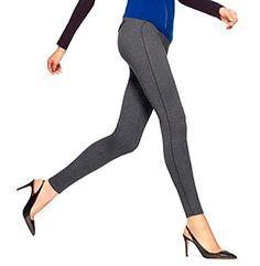 HUE® Black/Gray Ponte Herringbone with Leatherette Piping Leggings