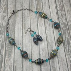 Paper Bead Necklace and Earring Set  African by DeederTheBeader
