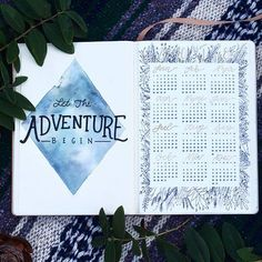 """My setup for my new 2018 bullet journal+January Plan with Me is now on my YouTube channel! Here are the first 2 pages Both the """"Adventure"""" painting and the 2018 floral calendar are available as prints in my Etsy shop and I also have a new calendar in there as well (link in bio)! I took my time setting my new journal up and ended up doing a lot of art in the process so it was so much fun . . . . #bulletjournal #bujo #journal #journaling #showmeyourplanner #planner #planning #plan #leu..."""