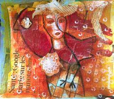 """Birds birds birds (Peinture),  28x24 cm par Doudoudidon Doudoudidon - """"Birds birds birds"""" - peinture - Outsider Art Singulier Doudoudidon©  (Loïc Tarin) Série chimères et Diplodocus Peinture et collage sur film radio de récuperation format 23X28 cm. avec des collages de livres scientifiques et religieux. La finition craquelée est aléatoire. La peinture est vernie et protégée, signée au dos de la toile. Technique originale, le thème a pour inspiration des créatures imaginaires chimèriques…"""