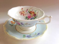 Coalport Tea Cup and Saucer, Antique, Blue Bone China Tea Cup