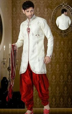 USD 149.93 Off White Banarasi Sequin Work Party Wear Sherwani 40926