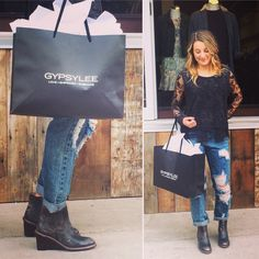We love when friends come to visit and support! Her outfit rocks and so does she! XOXO #gypsylee #shoplocal #oneteaspoon #freepeople #bedstu #dtklove #friendship #shopaholic #love #empower #embrace