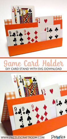 A clever DIY game card holder for holding and sorting cards during gameplay. Folds flat for store too. Compatible with all major electronic cutters. Family Card Games, Card Games For Kids, Kids Cards, Diy For Kids, Crafts For Kids, Cards Diy, Fun Crafts, Diy And Crafts, Paper Crafts