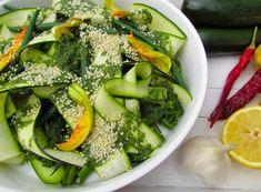 Courgette Salad with Zesty Mint Dressing Toasted Sesame Seeds, Mint Dress, All Vegetables, Broccoli Salad, Side Salad, Fresh Ginger, Kefir, Seaweed Salad, Avocado Toast