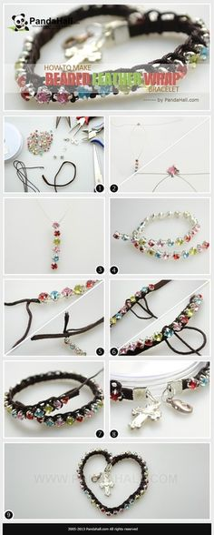 Jewelry Making Tutorial--How to Make Leather Wrap Bracelet with Rhinestone Beads | PandaHall Beads Jewelry Blog