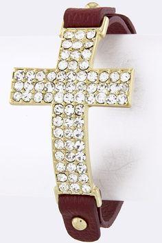 Crystal side cross bracelet $15  check out www.facebook.com/ClassyCajunBoutique  email : gregoire9107@yahoo.com