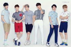 #EXO-K From left to right: Chanyeol, Suho, Sehun, Kai, D.O, Baekhyun