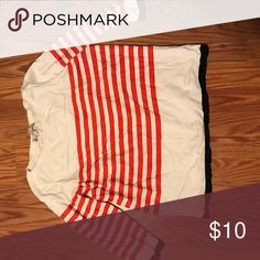 LOFT red and white  striped sweater with blue cuff Loft red and white striped sweater . Sleeves and bottom are outlined in blue. Perfect with white jeans. Lightweight LOFT Sweaters Crew & Scoop Necks