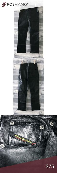 """DIESEL Vintage Leather Motorcycle Pants A 90's vintage wardrobe must have, these are 100% leather black motorcycle pants by Diesel. Pants are a tight fit, so check measurements. Bottom is left unhemmed to allow for custom length.  Material: Leather Size: 26"""" Waist: 27"""" Hip: 36"""" Length: 39"""" Inseam: 28"""" Diesel Pants Straight Leg"""