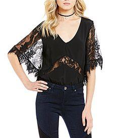Lovers Friends Senorita Lace Flutter Sleeve Bodysuit #Dillards