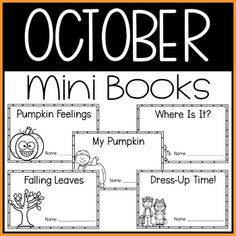 This October Mini Book resource is perfect for kindergarten students learning to read. This October themed pack includes five mini-books that are simple to read with predictable text and high picture support. This October group includes Pumpkin Feelings, My Pumpkin, Falling Leaves, Where Is It?, and Dress-Up Time! K students love these mini books that are simple to create with themes that young learners enjoy. Great for kinder reading centers and language arts practice. #autumn #kindergarten