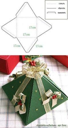 Basteln aus Papier wertvolle Geschenk Tüten mit edlen schleifen  Weihnachtliche