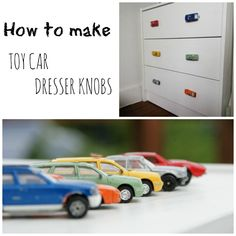 Create a custom look for your boys dresser by switching the boring standard knobs for toy car dresser knobs. Read this tutorial and make your own.