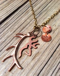 Hunter Girls Copper and Brass Toned Antler, Deer Head, Hand Stamped Necklace on Etsy, $30.00
