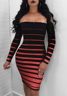 Stripes Off Shoulder Long Sleeve Bodycon Dress buying fashion dresses & rapid delivery. Sexy Dresses, Casual Dresses, Formal Dresses, Bodycon Dress Formal, Different Dresses, The Dress, Striped Dress, Fashion Outfits, Dress Outfits