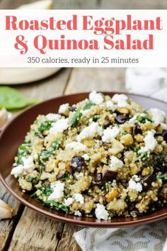 Roasted Eggplant and Quinoa Salad with Feta - Slender Kitchen. Works for Gluten Free, Vegetarian and Weight Watchers® diets. Main Dish Salads, Healthy Side Dishes, Side Dish Recipes, Main Dishes, Roasted Eggplant Salad, Roast Eggplant, Ways To Cook Eggplant, Eggplant Recipes, Tasty Vegetarian Recipes