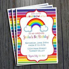Rainbow Birthday Invitation - FREE Thank You Card included #rainbow #birthdayinvitation #party