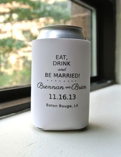 Eat Drink and Be Married Wedding Favor Can by yourethatgirldesigns, $114.00