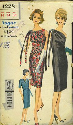 I love the cut of this vintage Vogue dress pattern. What a classy lady.