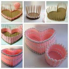 Yarn storage heart box - Diy and crafts interests Diy Home Crafts, Craft Stick Crafts, Craft Projects, Crafts For Kids, Arts And Crafts, Crochet Projects, Cardboard Crafts, Paper Crafts, Yarn Storage